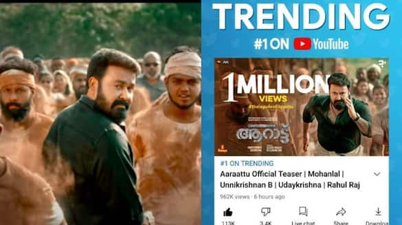 aarattu teaser trending one in youtube
