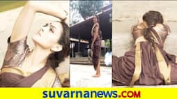 Kannada movie Bhajarangi actress Rukmini Saree yoga video viral