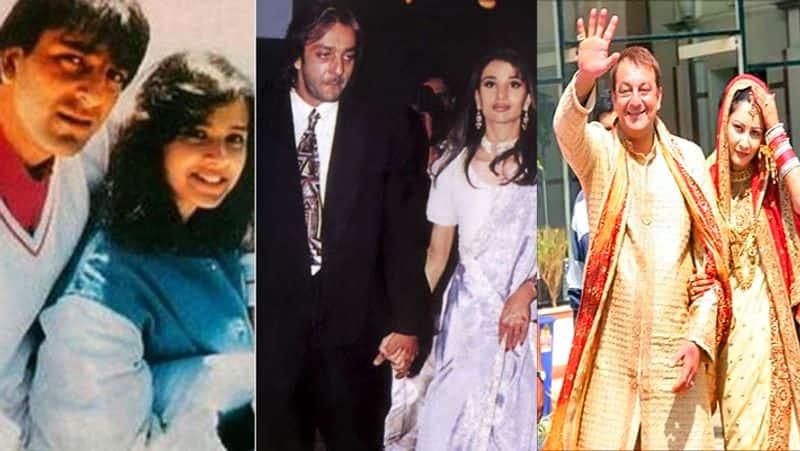 <p><strong>संजय दत्त :&nbsp;</strong><br /> संजय ने भी तीन शादियां की हैं। उनकी पहली शादी 1987 में ऋचा शर्मा से हुई जिनकी 1996 में ब्रेन ट्यूमर से मौत हो गई। इसके बाद 1998 में संजय ने रिया पिल्लई से शादी की लेकिन 2005 में दोनों का तलाक हो गया। रिया से तलाक के बाद संजय की जिंदगी में मान्यता आईं जिनसे उन्होंने 2008 में शादी की और दो जुड़वा बच्चों शाहरान और इकरा के पिता बने। पहली पत्नी से संजय दत्त की एक बेटी त्रिशाला है।&nbsp;</p>