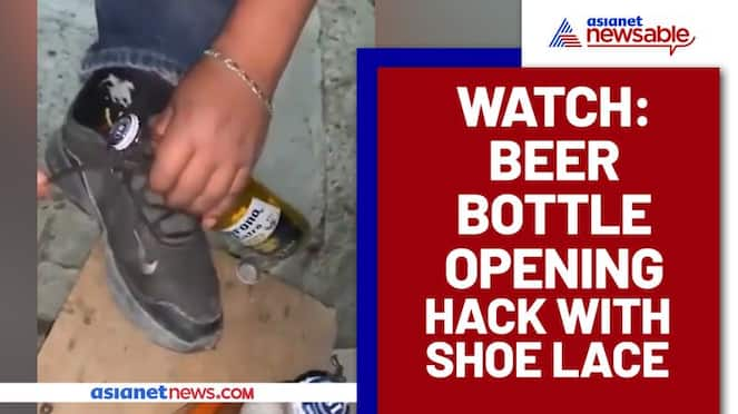 Can a beer bottle be opened by shoelace? Watch this man's viral video - gps