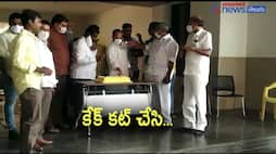 tdp  leaders celebrates chandrababu birthday in party office