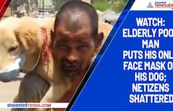 Watch: Elderly poor man puts his only face mask on his dog; netizens shattered