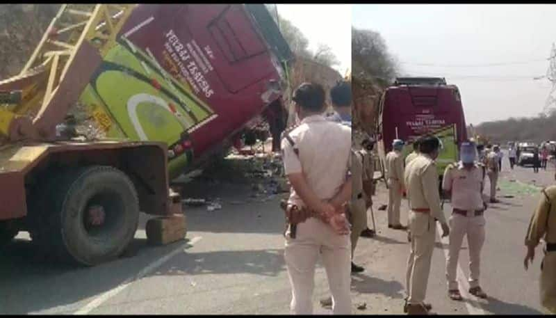 three migrant workers killed as over loaded bus over turned in gwalior