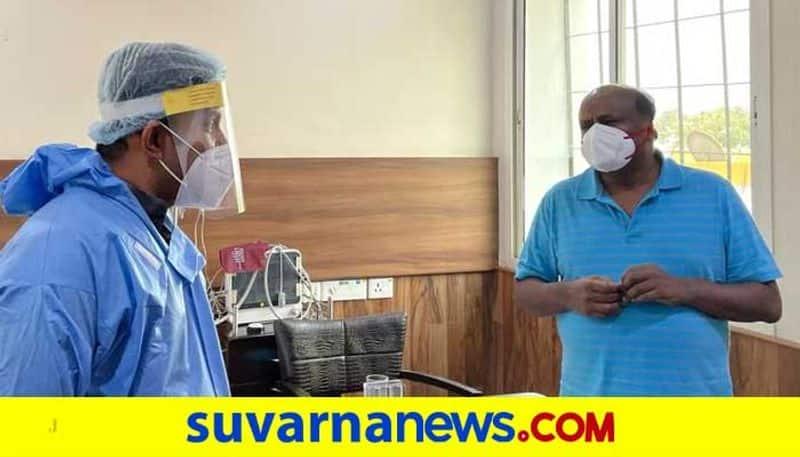 Corona second wave Health Minister Sudhakar meets HD Kumaraswamy mah