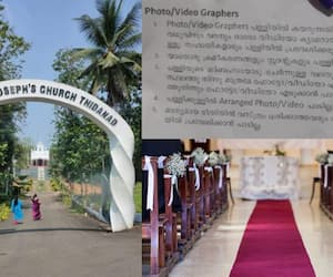 Thidanad st joseph church Parish priests reaction of photographer who felt insulted during shoot of wedding ceremony in church