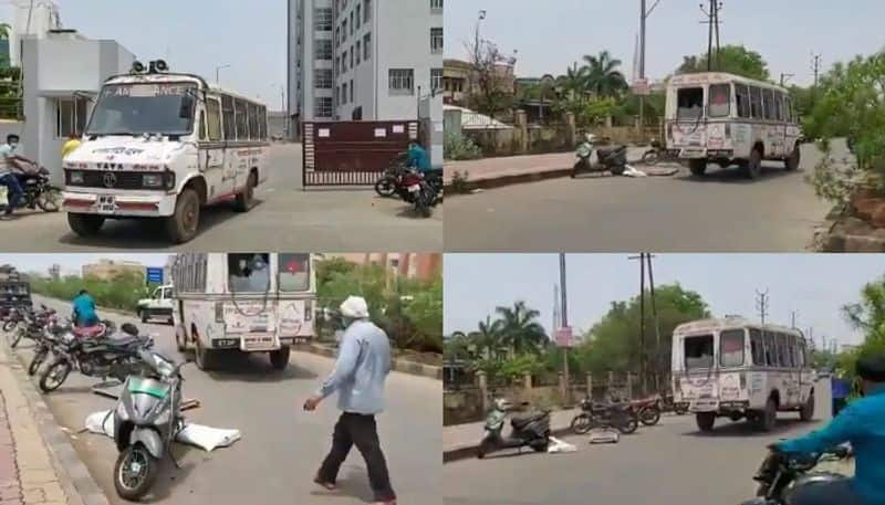 Covid patient dead body fell down from ambulance in Bhopal