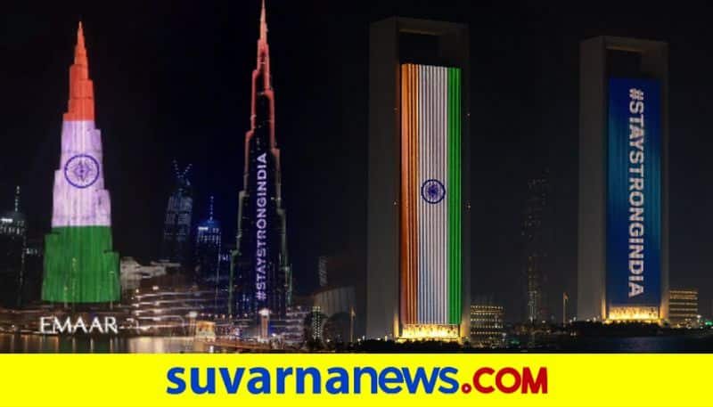 Stay Strong India UAE Buildings Including Burj Khalifa Light Up With Tricolour In Support Amid Covid Surge dpl