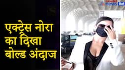 actress  nora fatehi spotted at mumbai airport video kpv
