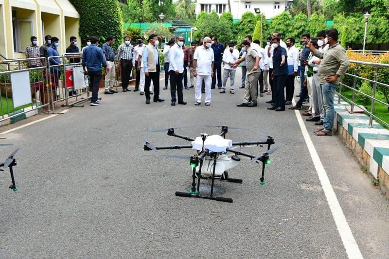 sanitizer spray In Bengaluru From drone Over Corona rbj