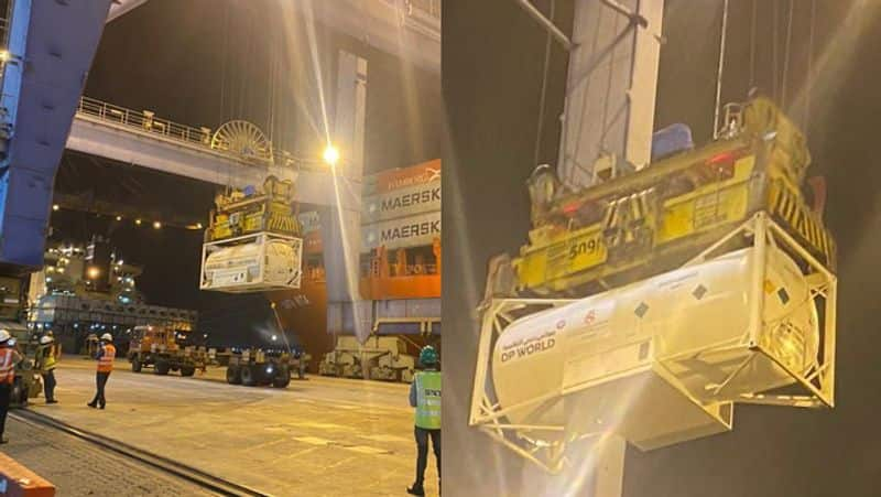 7 oxygen containers arrives from UAE to Mundra Port in Gujarat via the sea route KPP