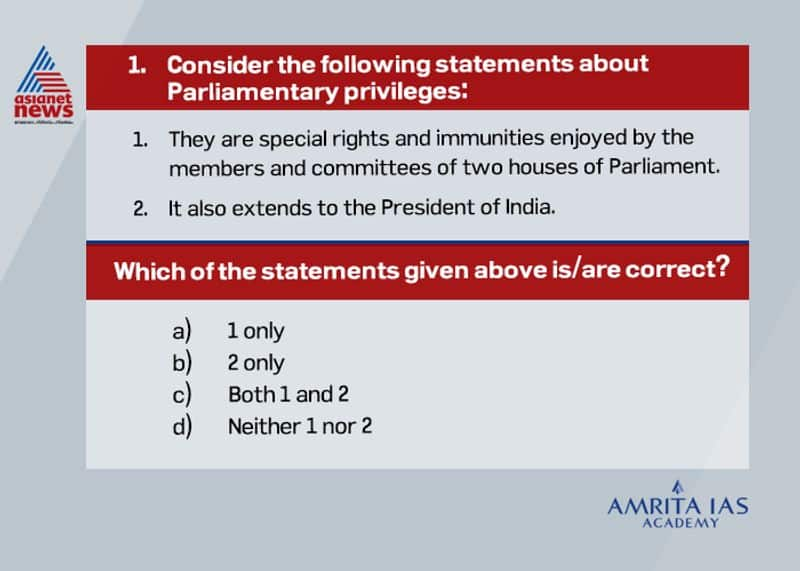 Answer(a) Parliamentary privileges are special rights, immunities and exemptions available to the members and committees of two houses of Parliament under Article 105. However, these privileges do not extend to the President of India.