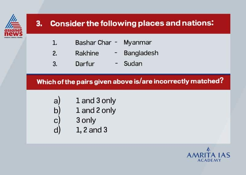 Answer(b) Bashan Char is an island in Bangladesh where Rohingyas are now relocated. Rakhine is a province in Myanmar where Rohingyas are a considerable minority.
