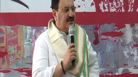 BJP national president JP Nadda Dharna after electoral violence in West Bengal kpa