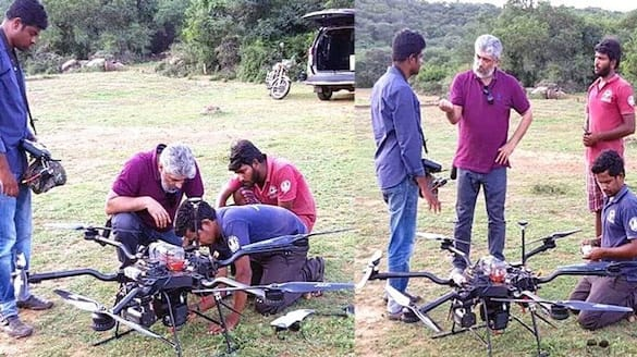 ajith sanitizing by using drone with his daksha team  arj