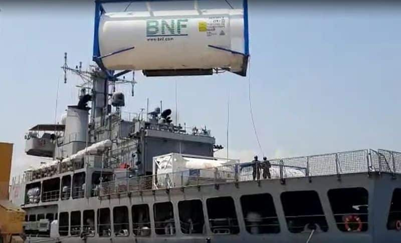 INS Airavat arrives in Visakhapatnam carrying medical supplies from Singapore ckm