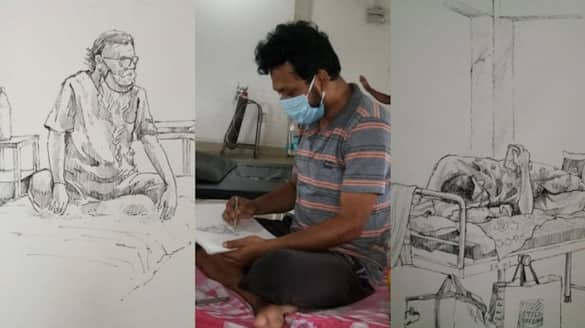 A painter of Raiganj is drawing and teaching drawing in Covid 19 wards to reduce panic spb