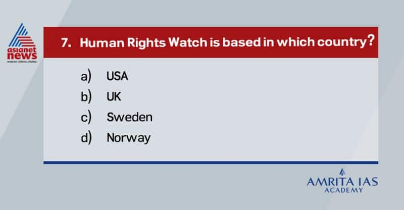 Answer(a) Human Rights Watch a New York based international non-governmental organization which won Noble Peace Prize in 1997 as a founding member of International Campaign to ban Landmines.