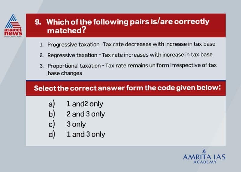 Answer(c) Progressive taxation is where tax rate increases with increase in tax base while, in regressive taxation tax rate decreases with increase in tax base.