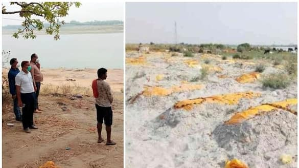 panic among locals after dead bodies buried on banks of ganga in up unnao