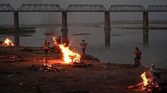 Rotten throated corpse of corona patients floating In ganges bpsb
