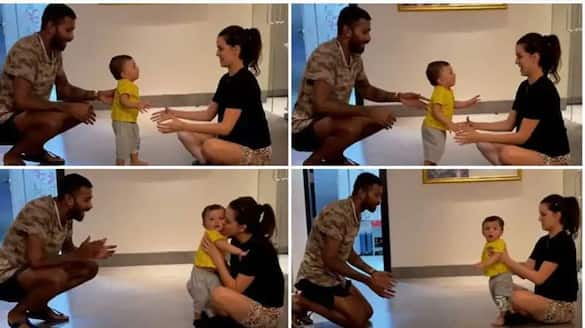 Parenting goals: Hardik Pandya and wife Natasa Stankovic teach son Agastya to walk