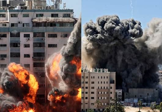 Israeli air strike attack destroyed media building in Gaza KPP