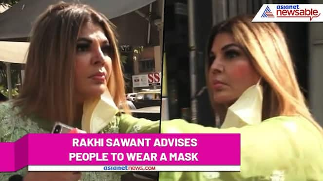 Rakhi Sawant asks people to wear mask without wearing one; Watch Video - gps