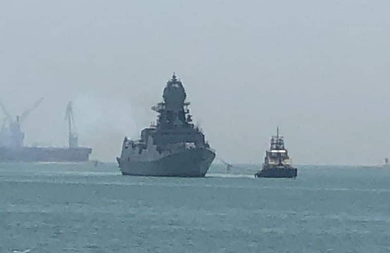 Covid 19 INS Trikand arrives at Mumbai, carrying relief material as part of Operation Samudra Setu II