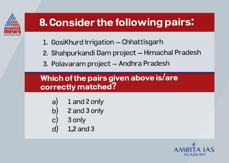 Answer (c) The three national projects of India areo GosiKhurd Irrigation Project also known as Indira Sagar Irrigation Project is on the river Wainganga, in Maharashtra.o Shahpurkandi Dam project is on Ravi River in Pathankot district, Punjab, India.o Polavaram project is in Andhra Pradesh across river Godavari.