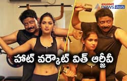 RGV's hot workout session with Big Boss beauty Ariyana Glory after special interview..?
