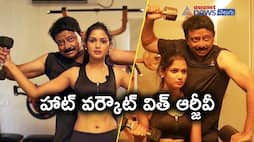 RGVs hot workout session with Big Boss beauty Ariyana Glory after special interview..?