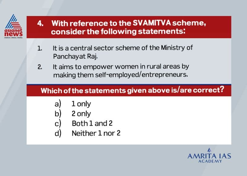 Answer (a) The scheme was launched nationally on April, 2021 after the successful completion of pilot phase in 9 states. It aims to provide property cards to rural residents through the survey conducted by drones. This will create more precise and accurate land records on the country.
