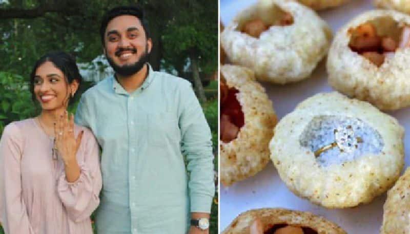 man hides his engagement ring inside pani puri to surprise girl friend