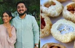 <p>engagement ring inside pani puri</p>