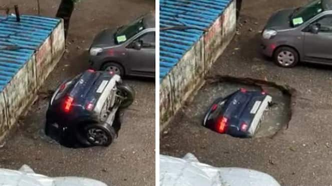 Super Special Car merged in sink hole due to heavy rain in Mumbai pod