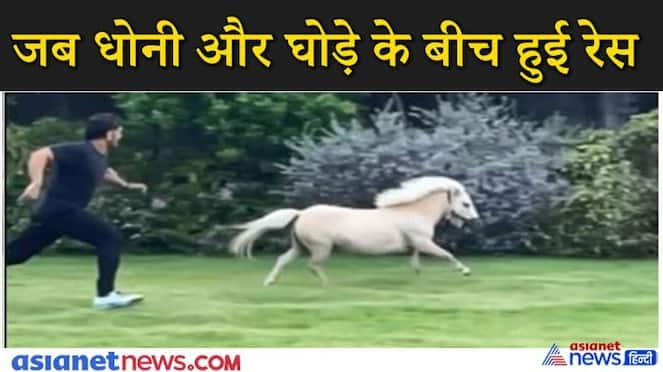 MS Dhoni racesing shetland pony sakshi dhoni shared video kpv