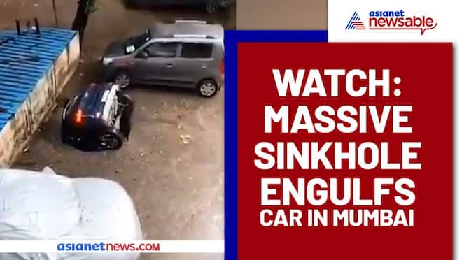 Car swallowed by sinkhole in Mumbai's Residential Complex After Heavy Rains, Rescued After 12 hours - gps