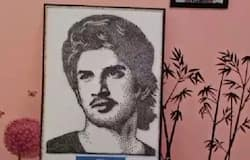 <p>sushant singh picture by artist using nails</p>