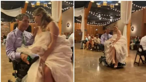 Daughter arrives at the wedding venue in a wheelchair on her father's lap