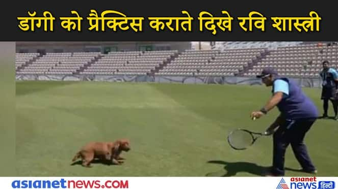Indian cricket coach ravi shastri playing with a dog kpv