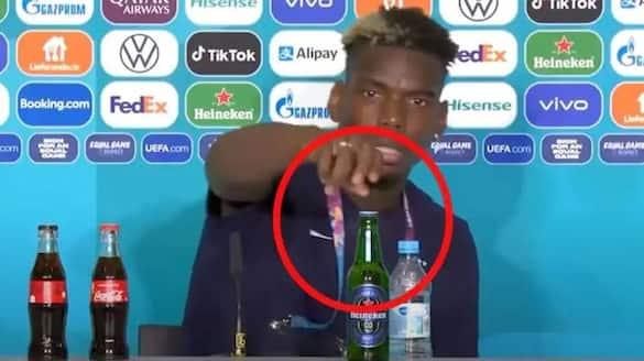 Paul Pogba removes Heineken bottle at press-conference