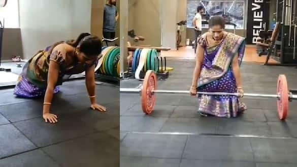 woman in saree does push ups and weight training in viral video