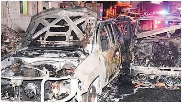 six vehicles destroyed after a fire broke out in Kuwait