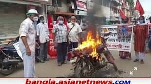 Left activists have protested against the increase in petrol and diesel prices RTB