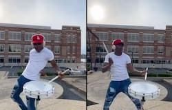 <p>Musician's incredible dance moves while playing the drums goes viral; watch the video</p>