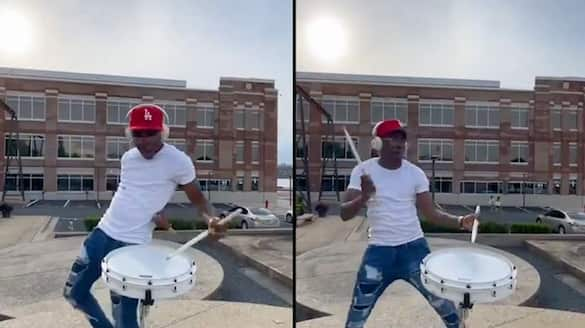 Musicians incredible dance moves while playing the drums goes viral; watch the video-tgy