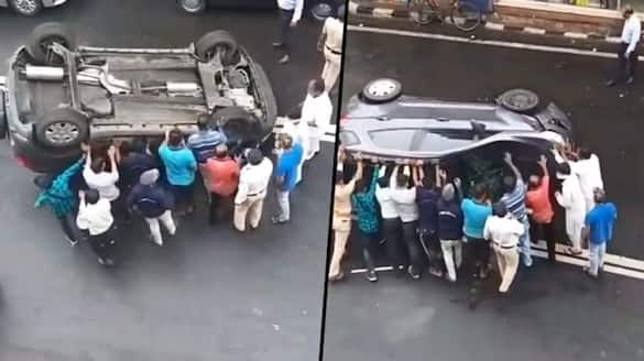 Mumbaikars come together, helped overturned an SUV back on its wheels; Watch Video - gps