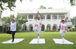 <p>Lok sabha Speaker Om Birla with his wife Smt. &nbsp;Amita Birla and daughter performing Yoga on International Day of Yoga</p>