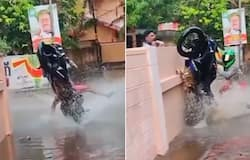 <p>Bike stunt with a hilarious twist goes viral; Watch video</p>