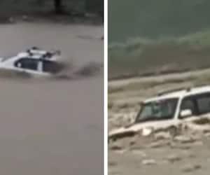 uttar pradesh news   heavy flow of river saharanpur  scorpio drowned  and trapped kpr